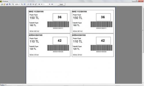 AYSİS Mağaza Otomasyonu Barkod Etiketi Basma bölümü