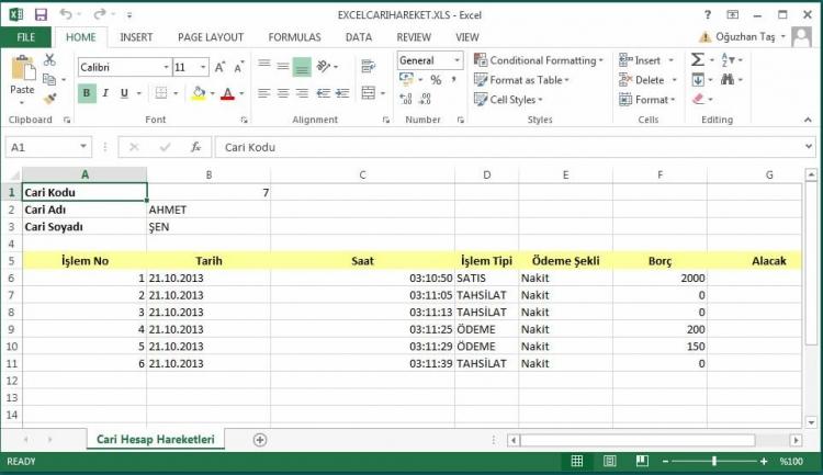 Excele Aktarılmış Cari Hesap Detay Listesi