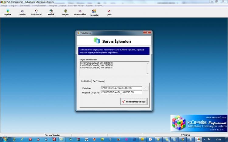KÜPSİS Professional Kütüphane Otomasyon Programi Yedekleme