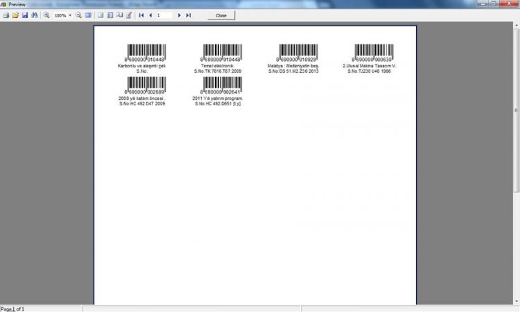 KÜPSİS Professional Kütüphane Otomasyonu Barkod Önizleme Ekranı