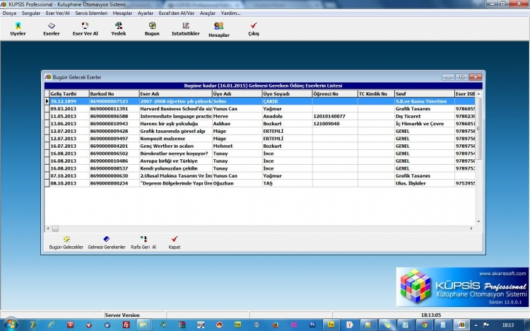 KÜPSİS Professional Kütüphane Otomasyonu Geciktiren Üyeler Listesi