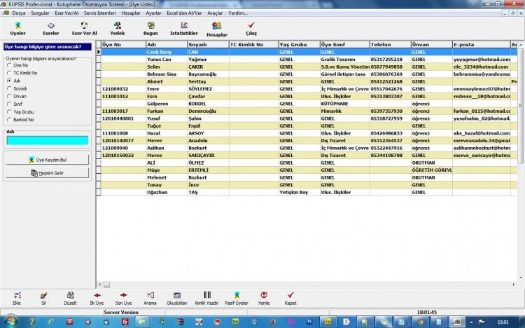 KÜPSİS Professional Kütüphane Otomasyonu Üye Arama Ekranı