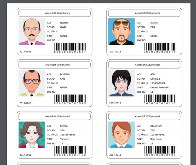 KÜPSİS Web Kütüphane Otomasyon Programı Barkodlu Kimlik Kartı
